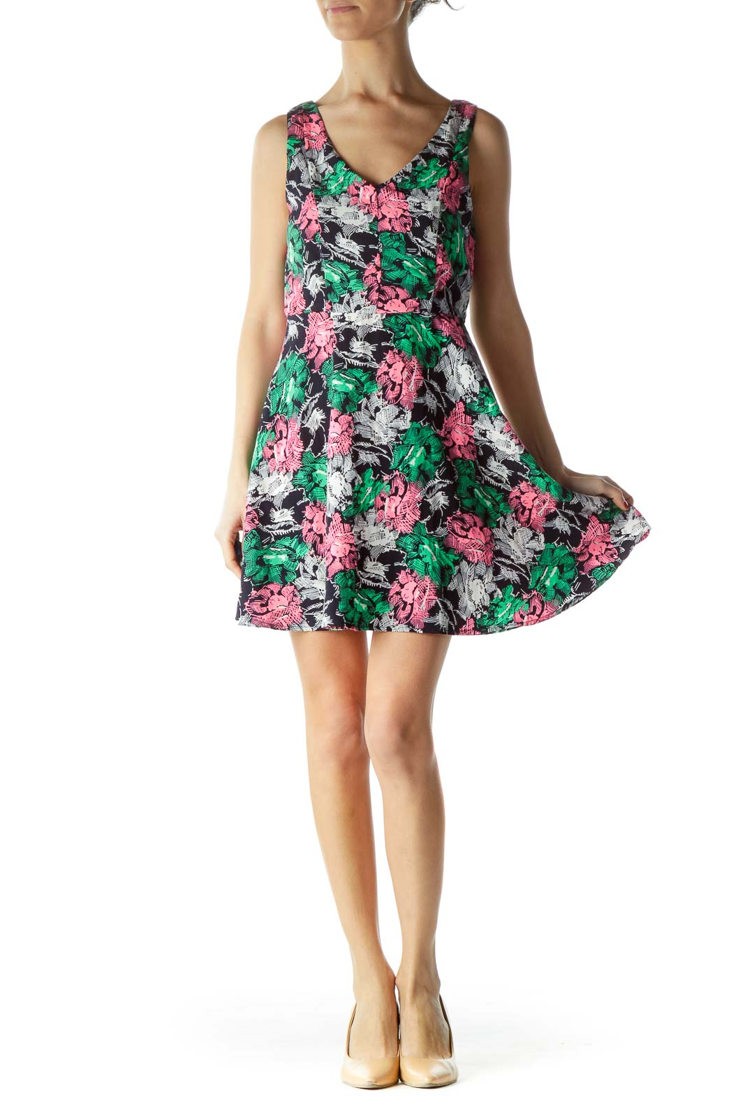 Pink Green Blue Floral Print Day Dress