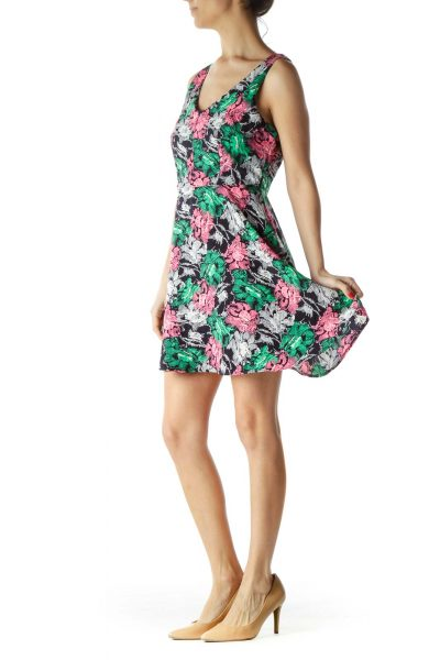 Pink Green Blue Floral Print Day Dress