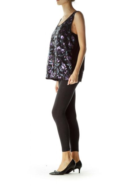 Black Purple Floral Sequins Sleeveless Blouse
