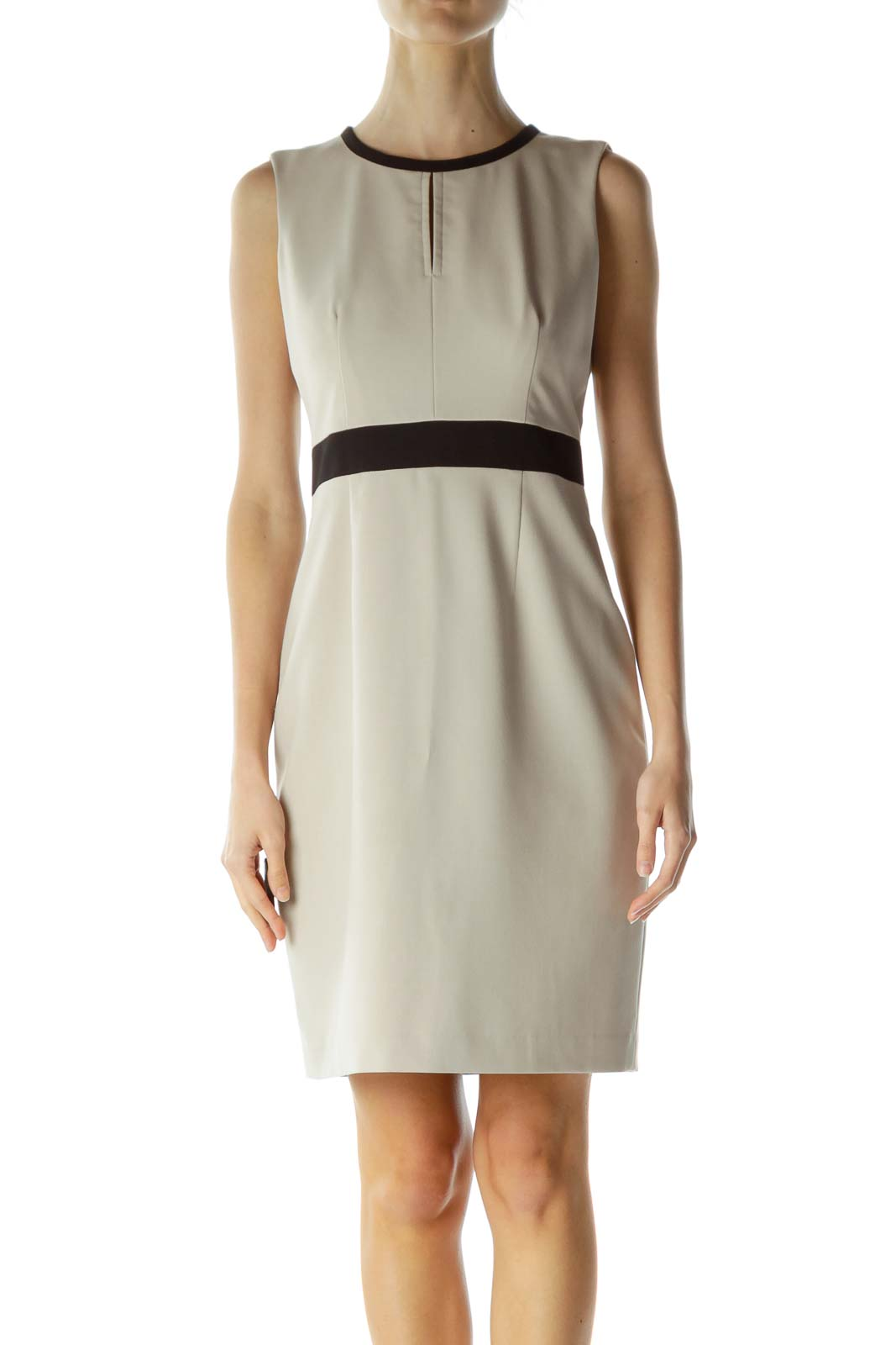 Beige Zippered Sheath Dress