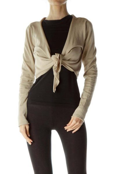 Beige Knotted Front Knit Bolero
