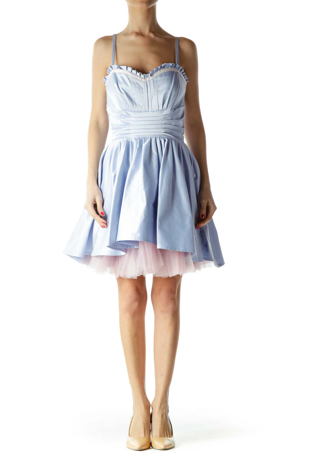 Blue Spaghetti Stress Tulle Cocktail Dress