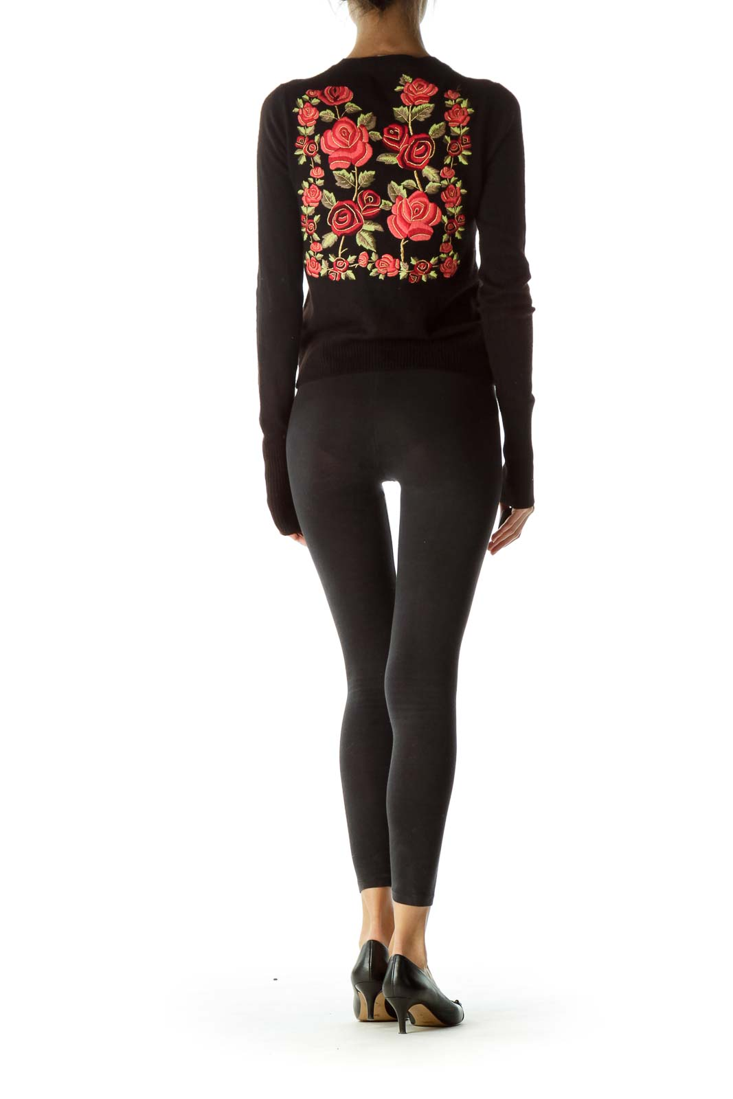 Black Floral Embroidered 100% Cashmere Sweater