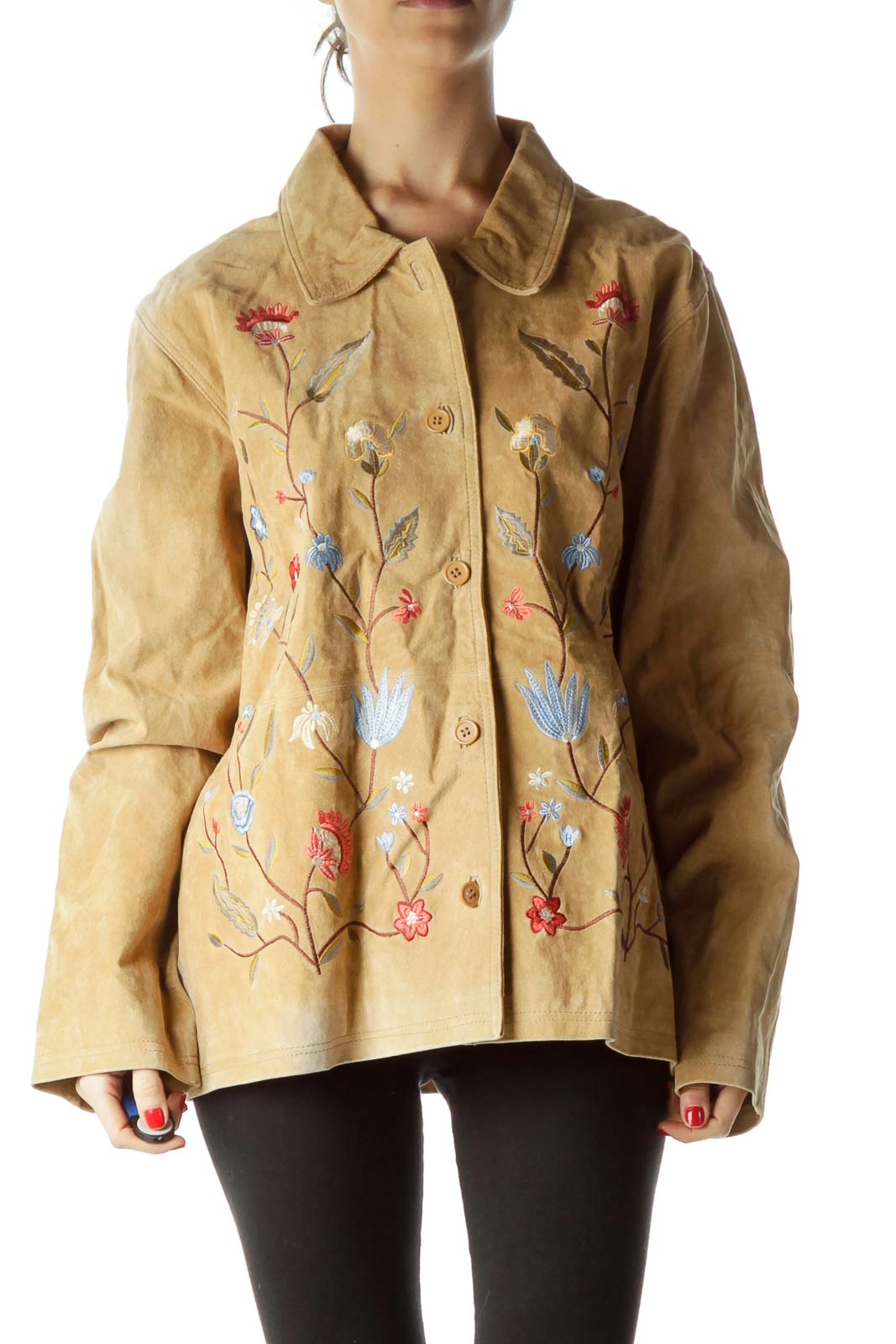 Beige Floral Embroidery Leather Jacket