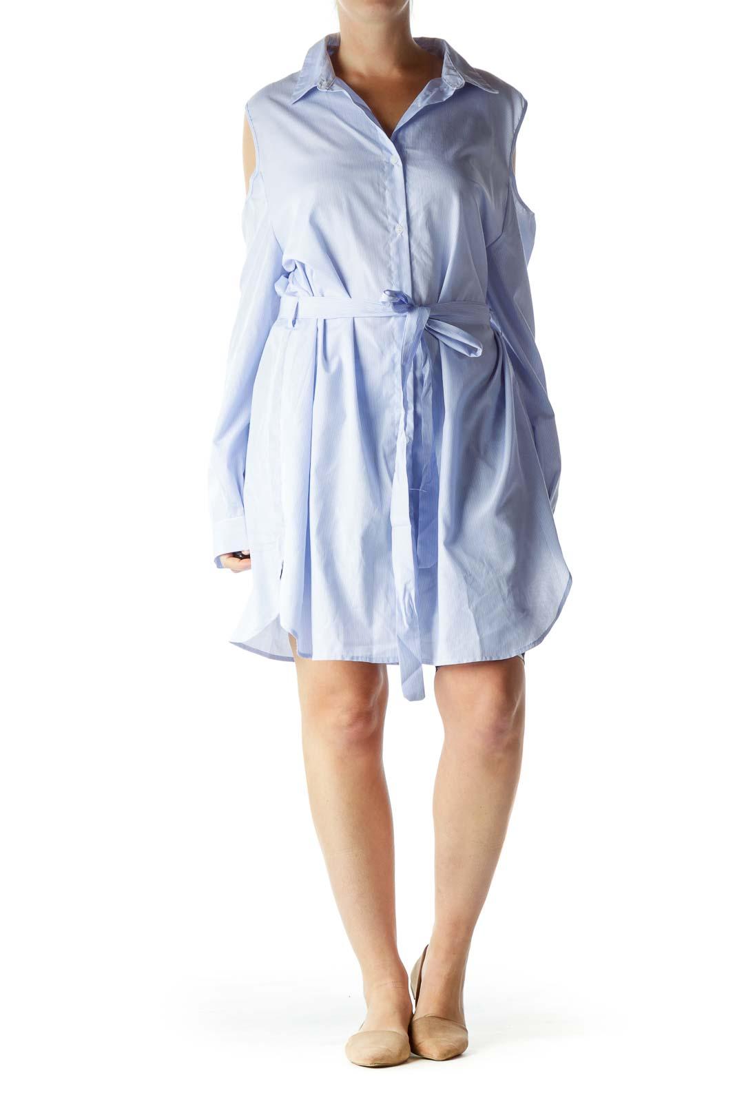 Blue White Pinstripe Off-Shoulder Day Dress