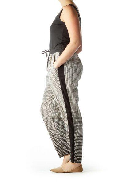 Black Cream Geometric Print Pants