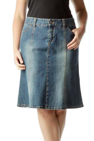 Blue Flared Denim Skirt