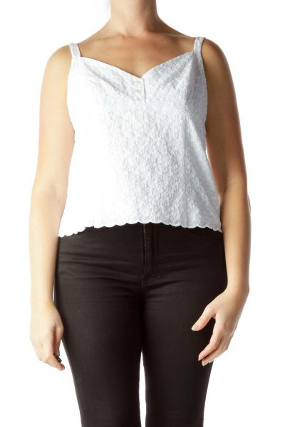 White 100% Cotton Sleeveless Knit Top