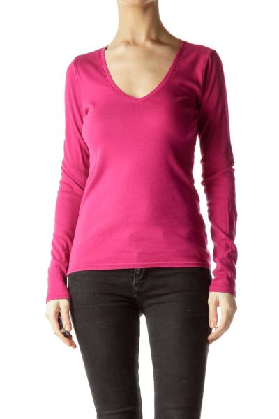 Pink Long Sleeve Knit Blouse