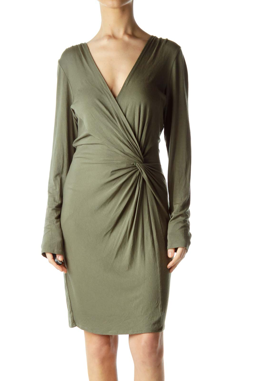 Green Ruched Jersey Dress