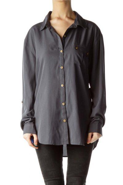 Gray Long-Sleeve Pocketed Shirt