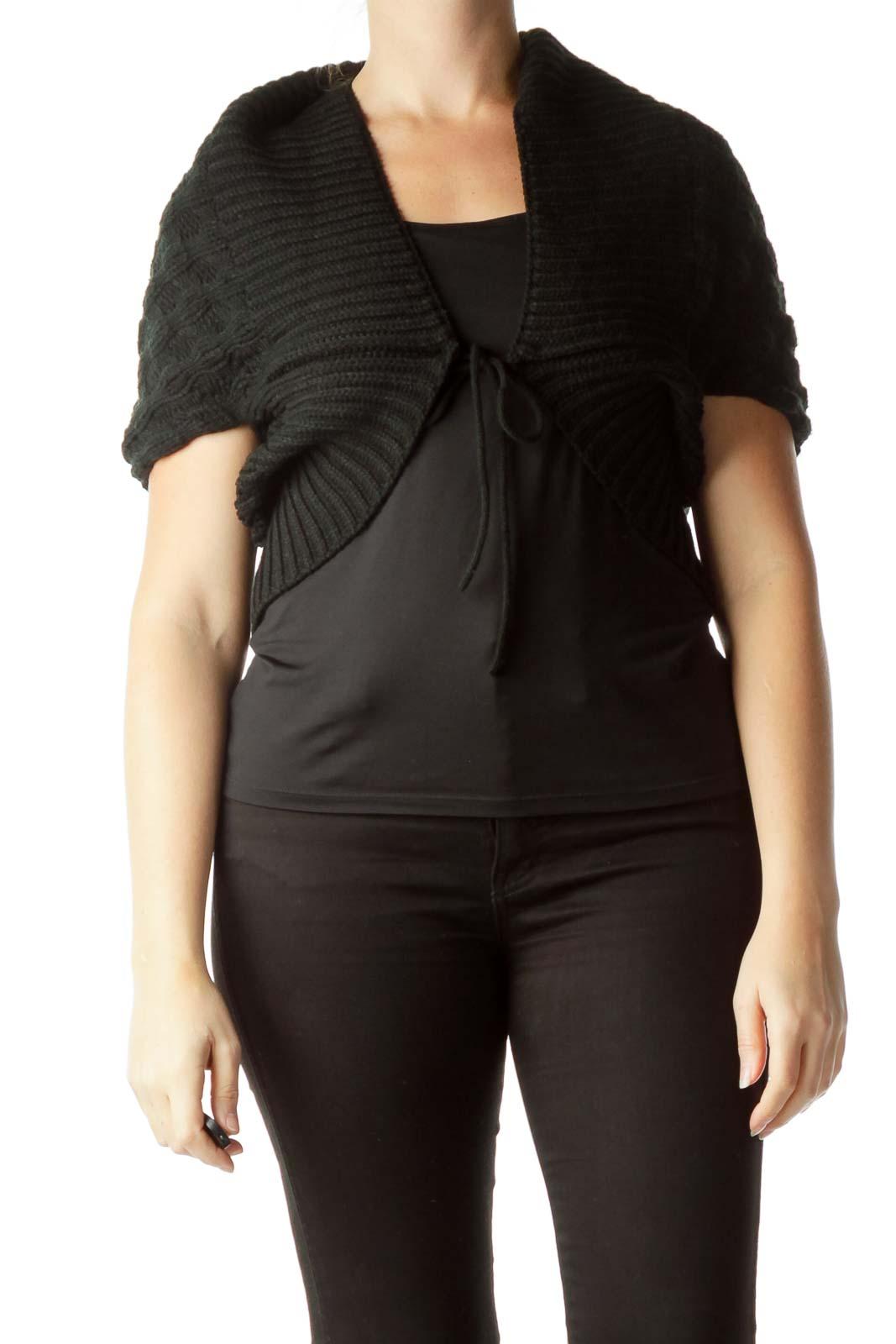 Black Bat-Sleeve Poncho Sweater