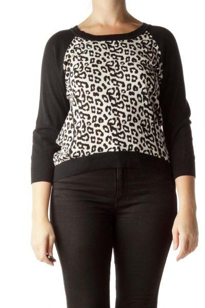 Black Cream 100% Cotton Animal Print Sweater