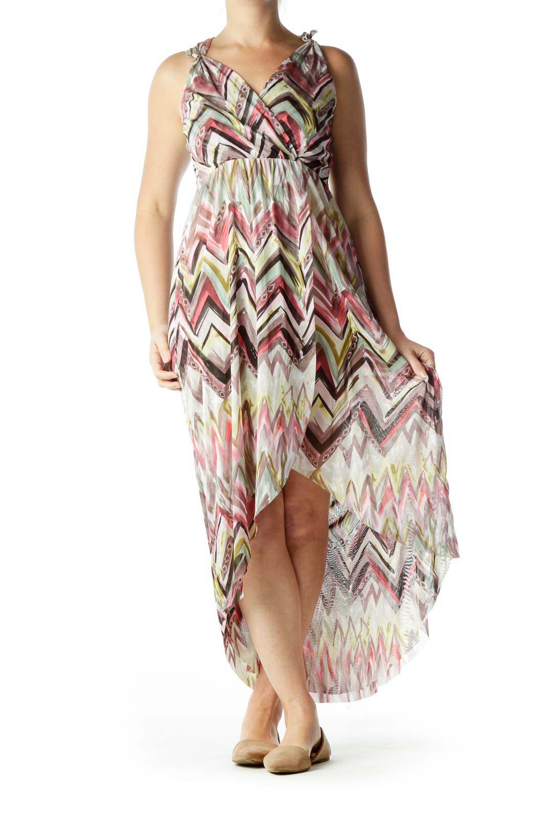 Multicolored V-Neck High-Low Dress