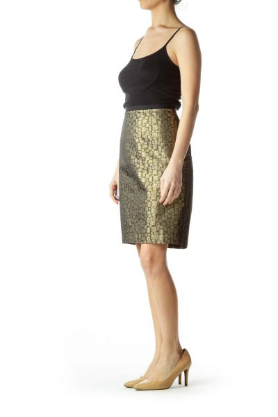 Gold Black Metallic A-Line Skirt with Pockets