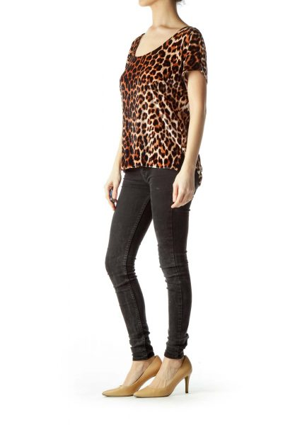 Brown Animal Print Velvet Blouse