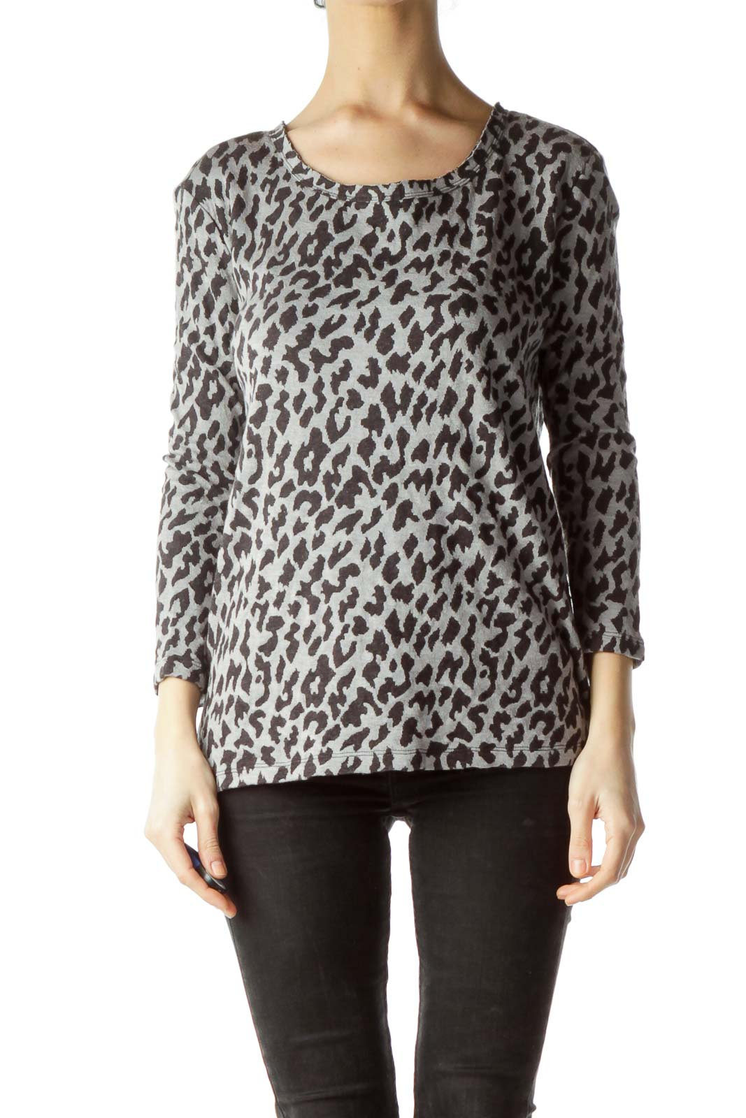 Gray Animal Print Knit Top