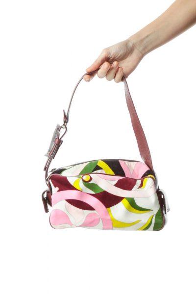 Burgundy Velvet Print Shoulder Bag