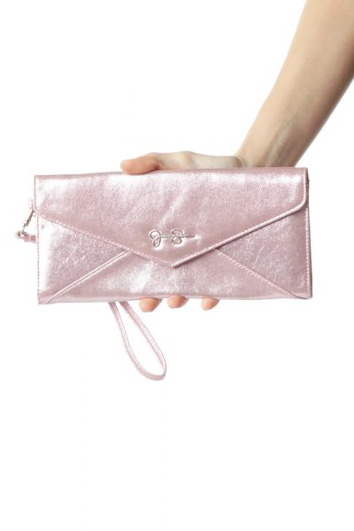 Pink Metallic Clutch with Wristlet