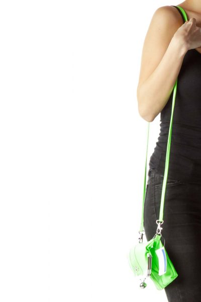 Neon Green Patent Faux-Leather Crossbody Bag