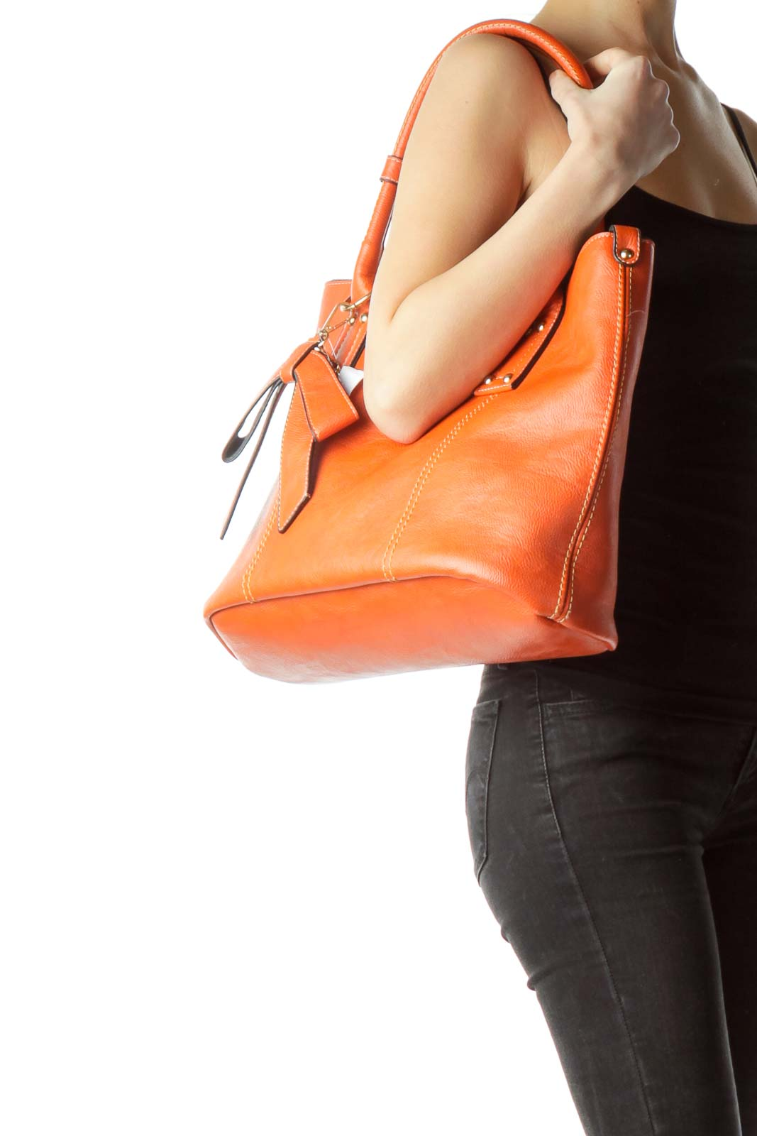 Orange Stitch Detailed Faux-Leather Tote