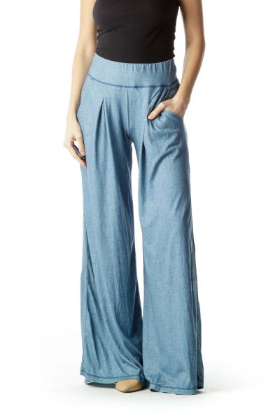 Blue Pocketed Wide-Leg Pants