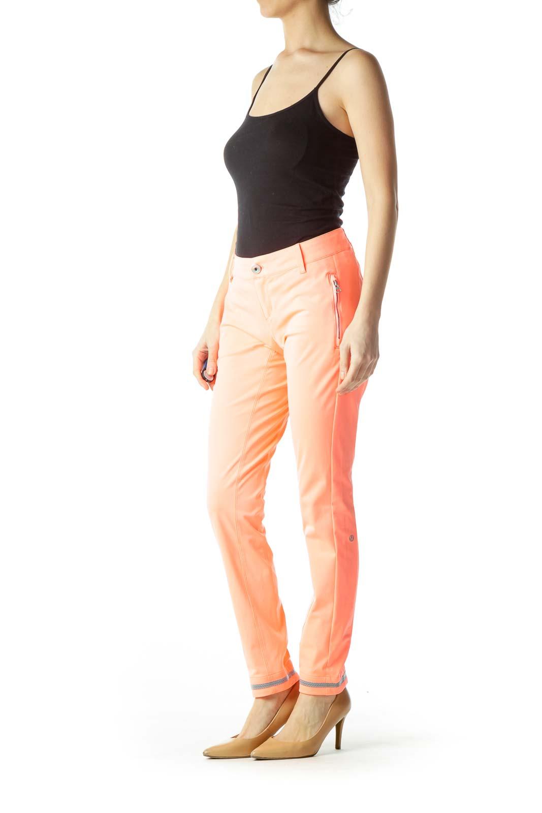 Orange Zippered Skinny Pants