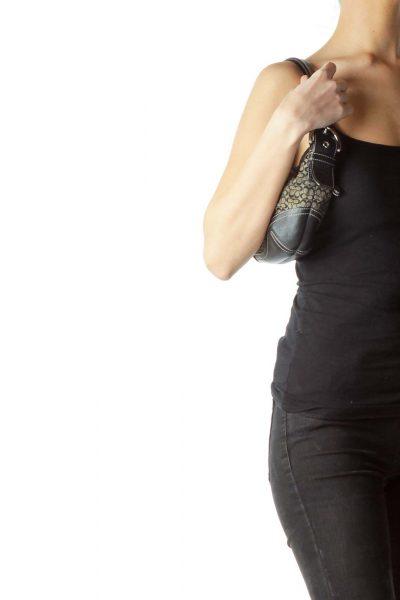 Black White Monogrammed Shoulder Bag