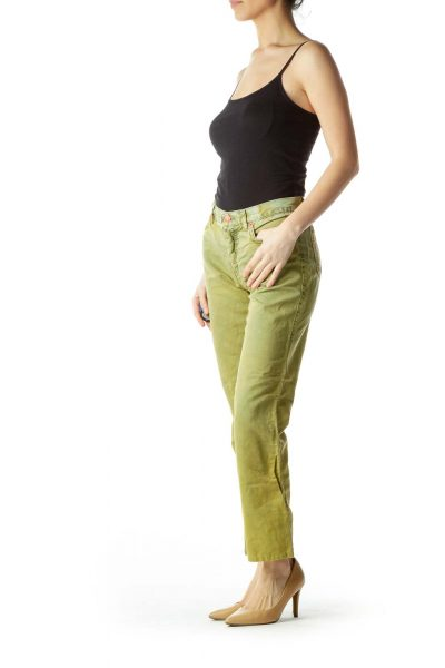 Washed Green Straight-Leg Jeans