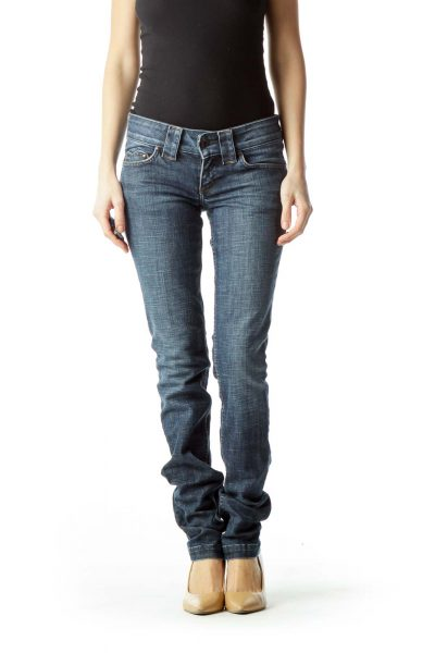 Blue Straight-Leg Denim Jeans Heart Pockets