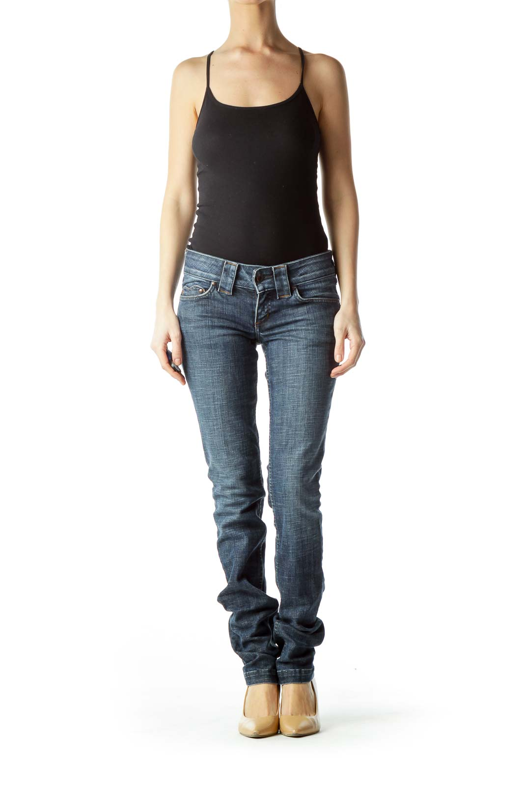 Blue Straight-Leg Denim Jeans Heart Pockets