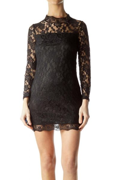 Black Lace Open-Back Bodycon Cocktail Dress