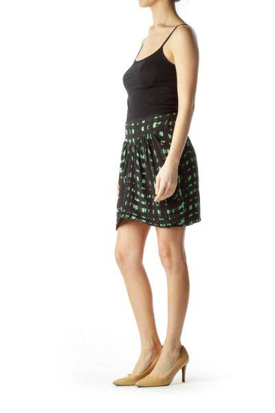Black Green Print Silk Mini Skirt