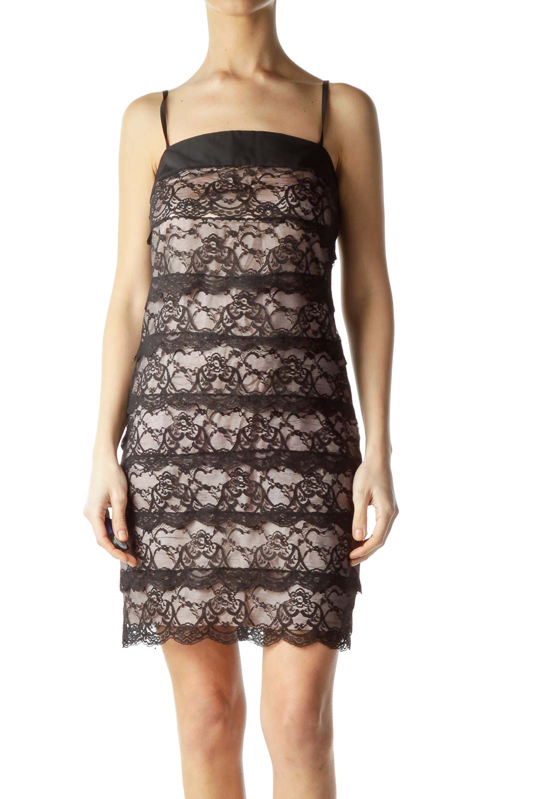 Black Pink Lace Spaghetti Strap Dress