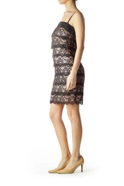 Black Pink Lace Spaghetti Strap Dress
