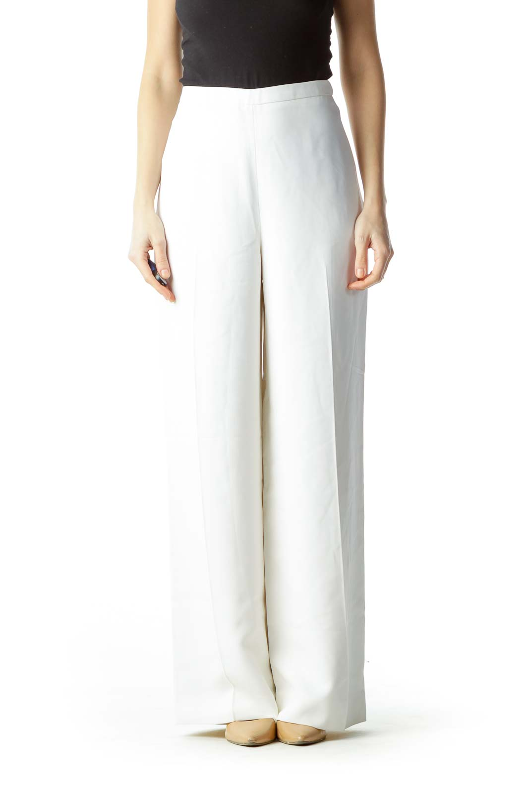 Cream High-Waisted Pants