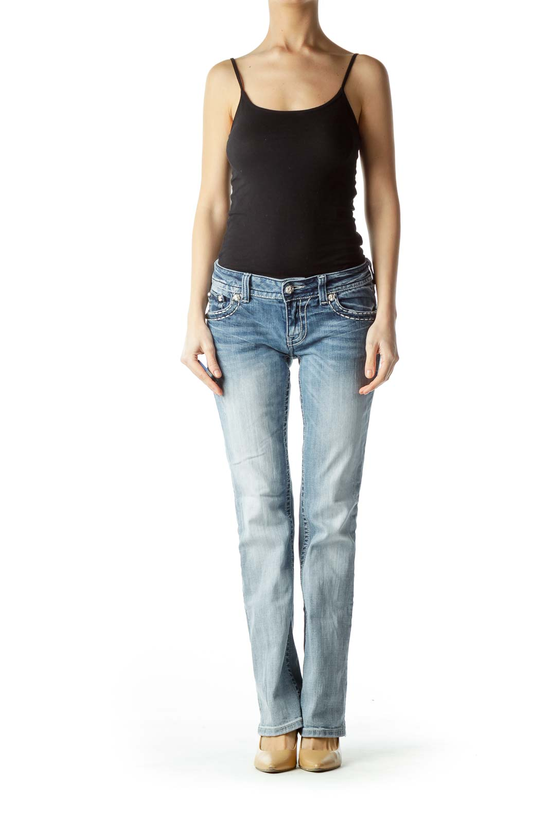 Light-Wash Blue Embellished Denim Jeans