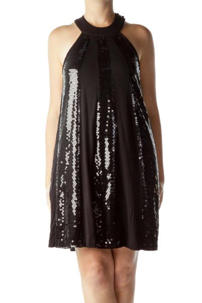 Black Sequin Tent Dress