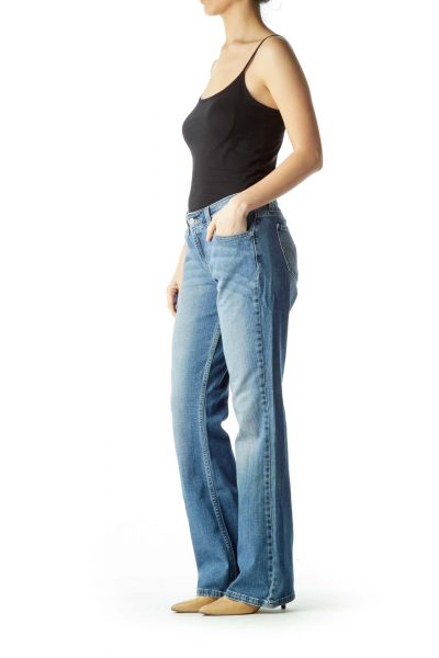 Blue Faded Straight-Leg Jeans