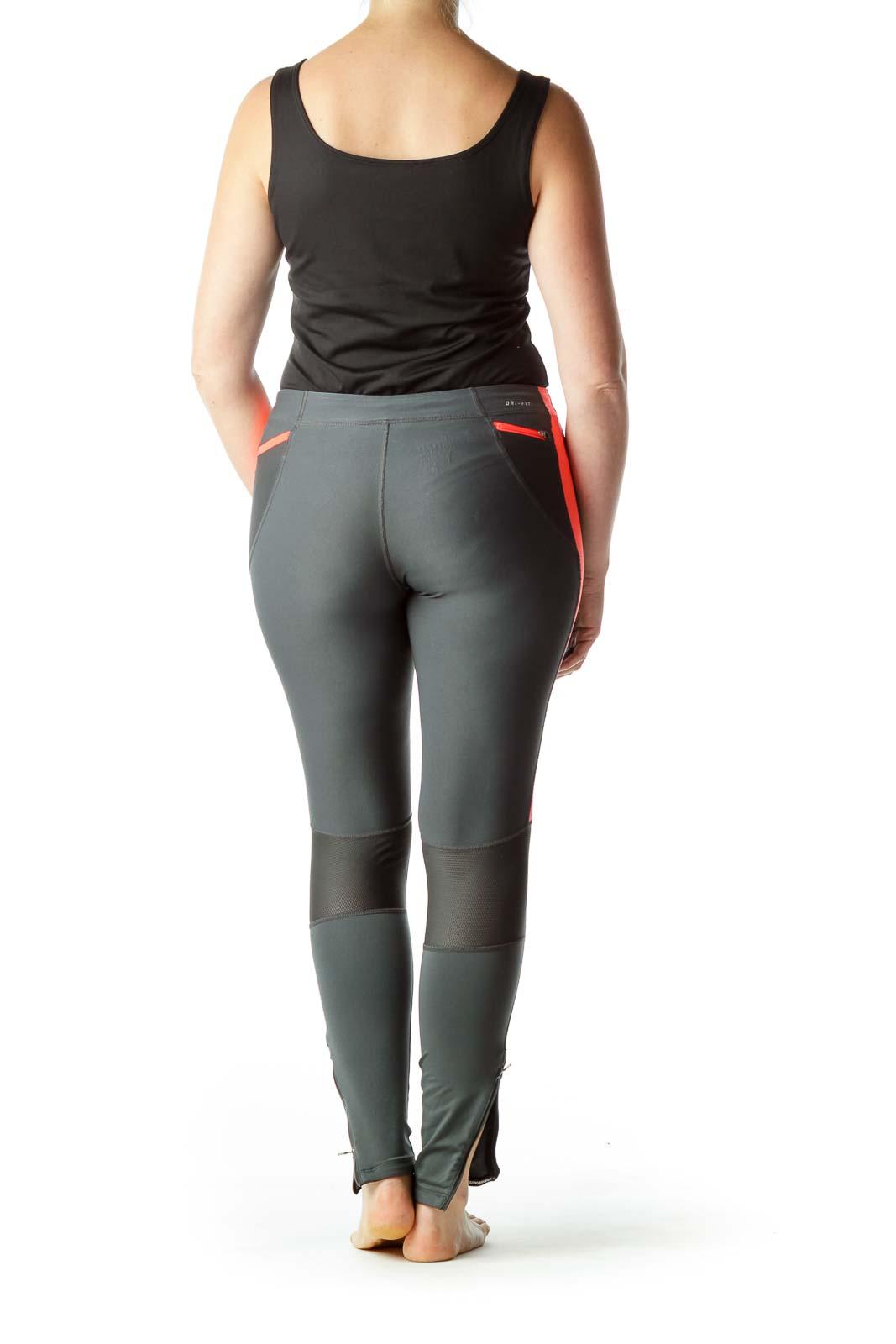 Gray Orange Slim Sports Pants