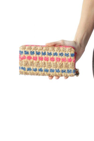 Brown Pink Blue Straw Detail Wallet