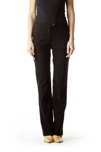 Black Soft Straight-Leg Slacks