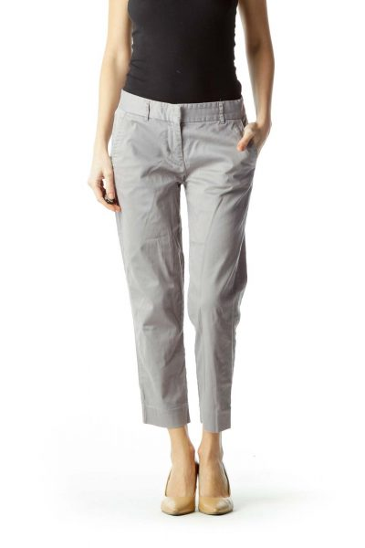Gray Cropped Petite Pants
