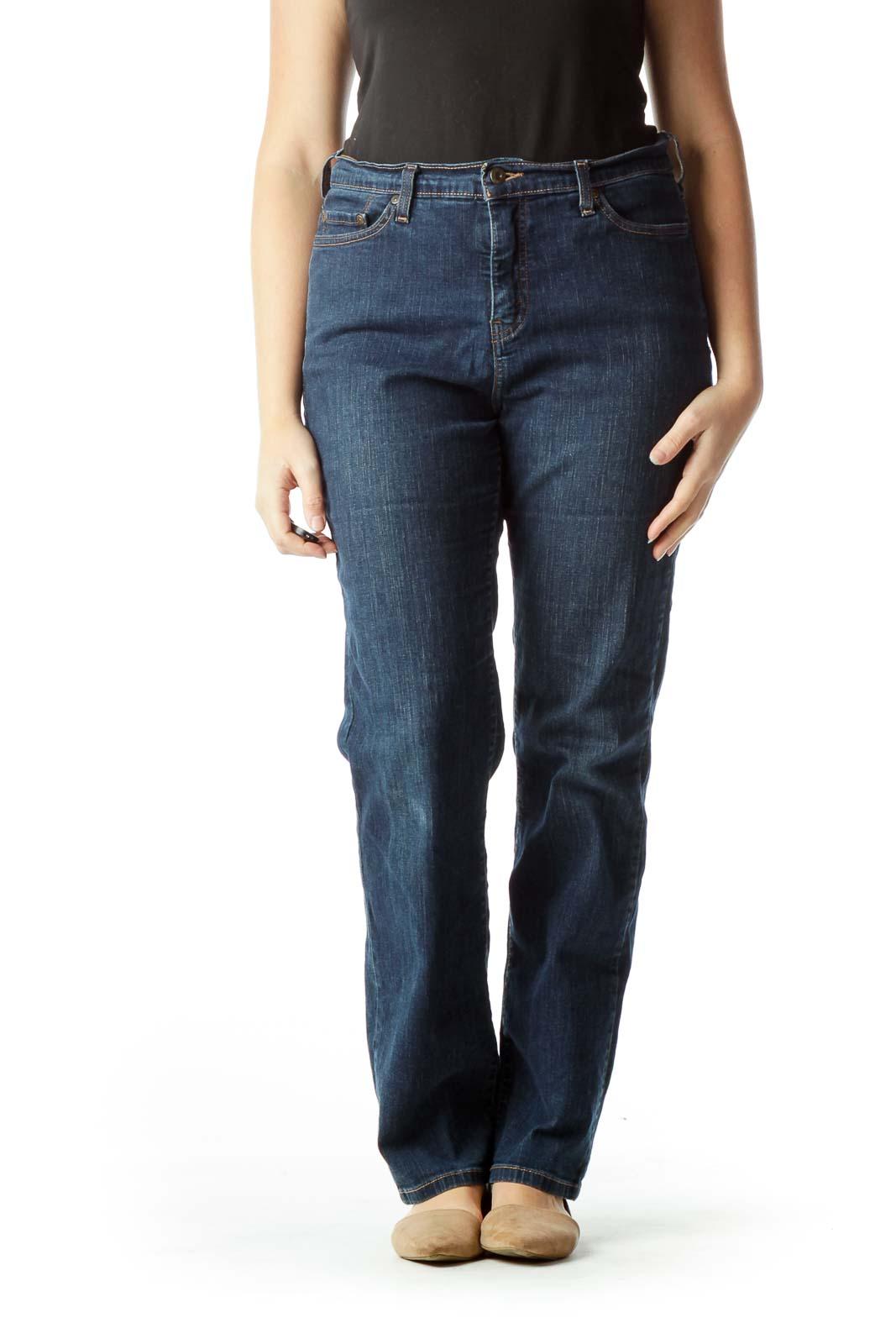 Blue Straight-Leg Denim Jeans