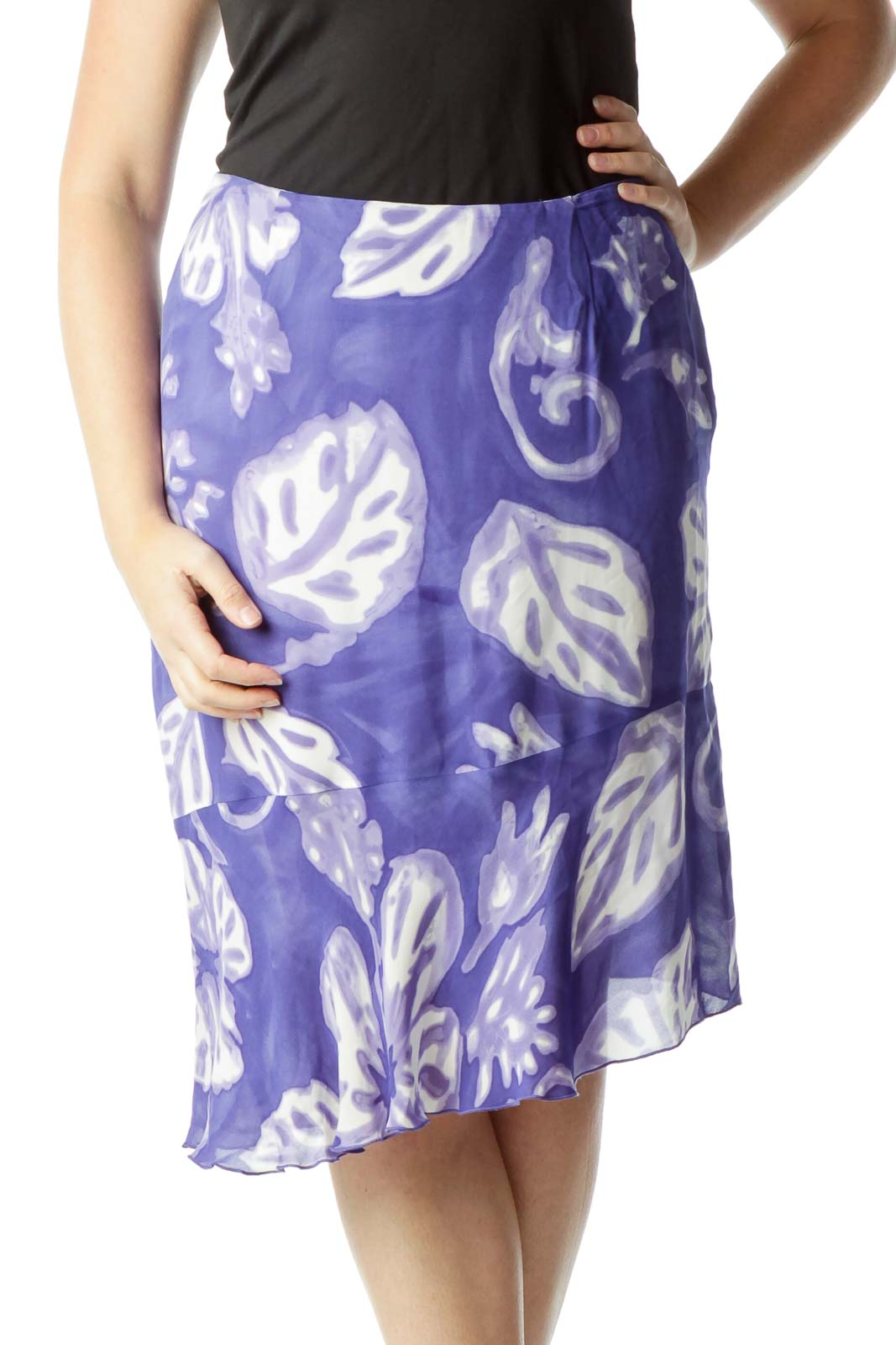Blue and Cream Leaf Print Flared Skirt