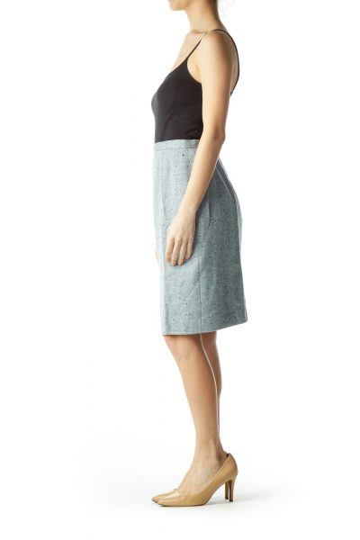 Light Blue Wool Pencil Skirt