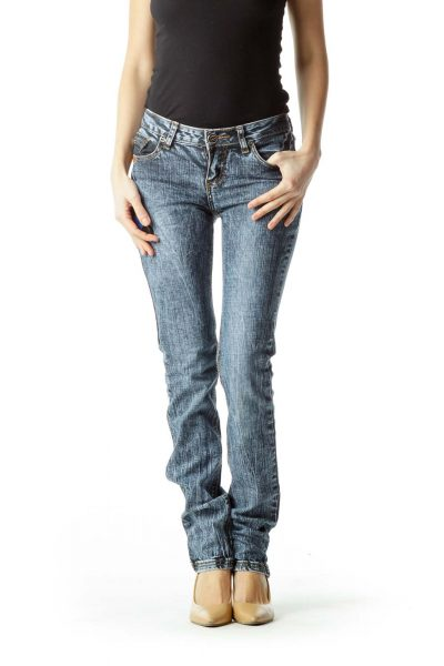 Blue 100% Cotton Designer Denim Jeans
