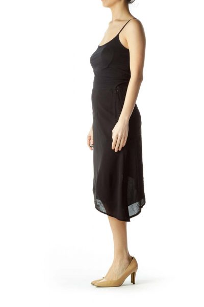 Black Asymmetric Mini Skirt