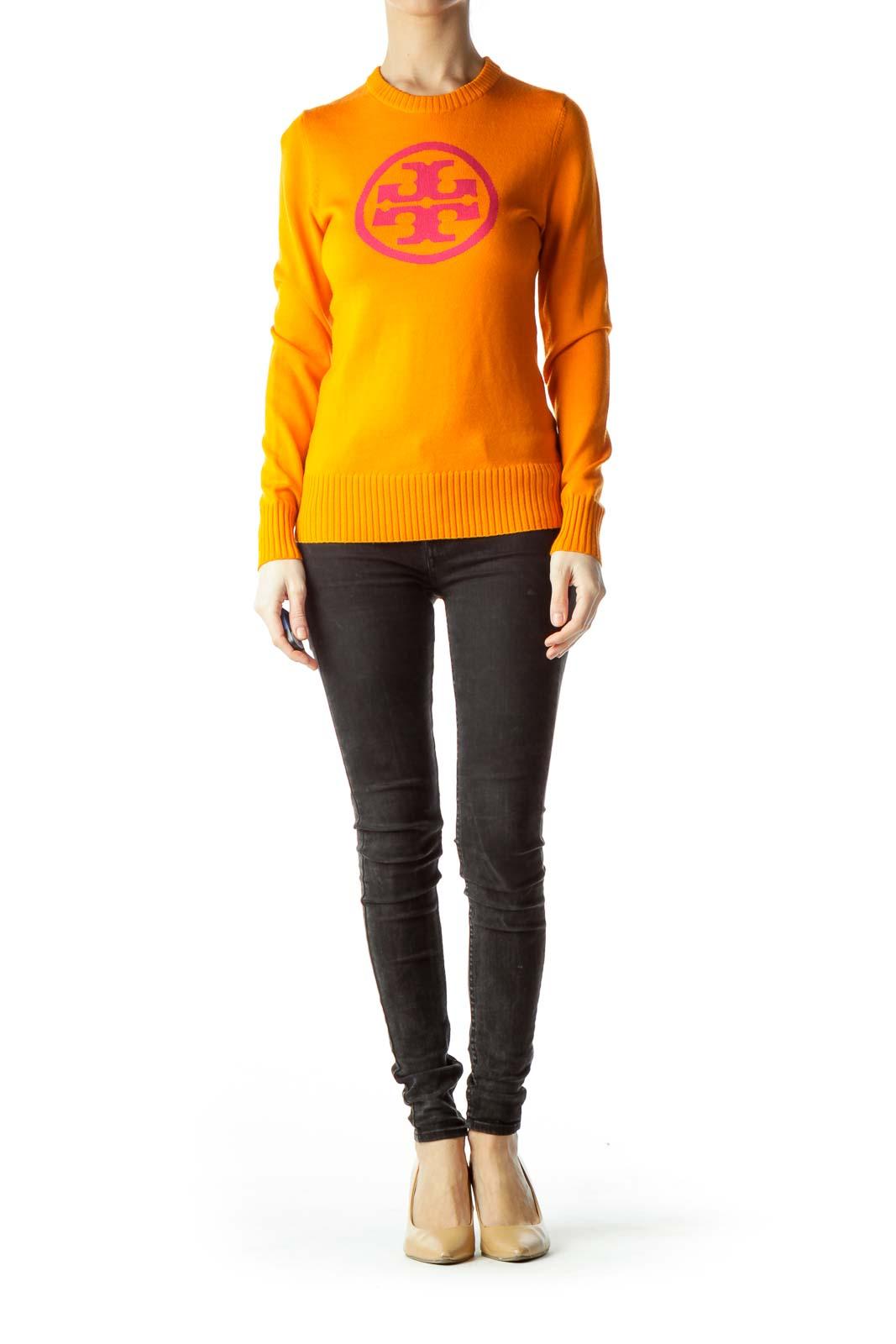 Orange 100% Wool Sweater with Pink Logo