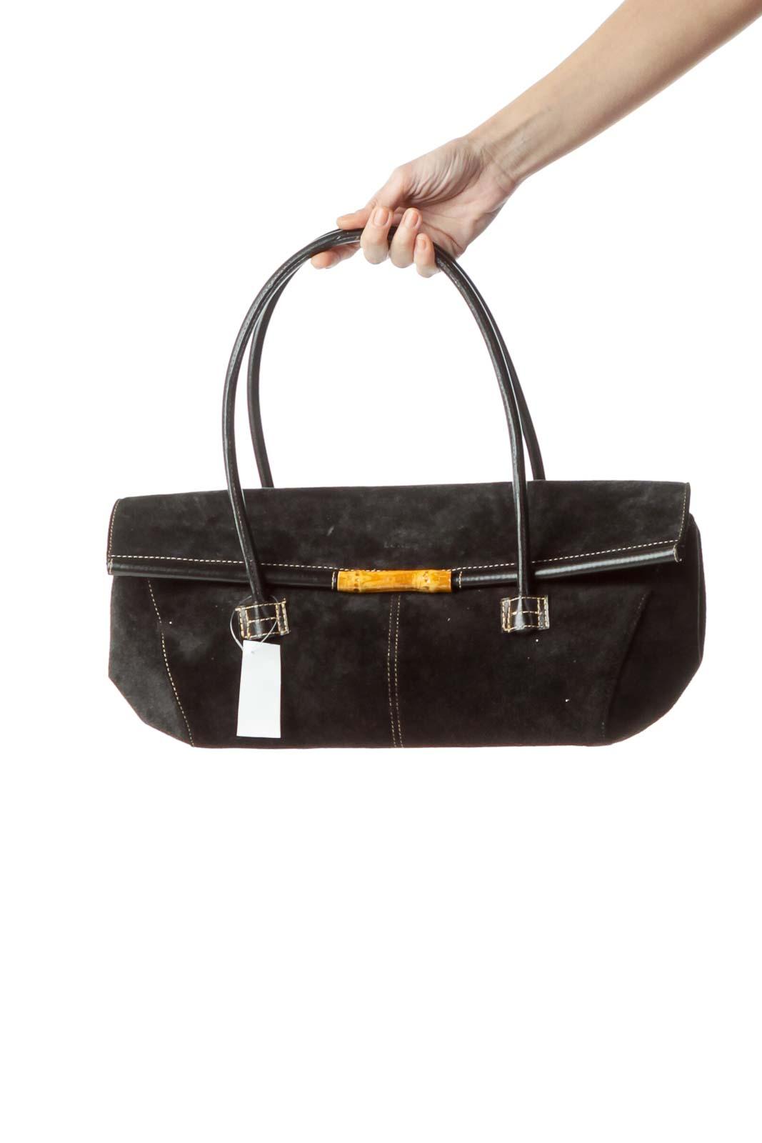 Black Bamboo Buckle Suede Shoulder Bag